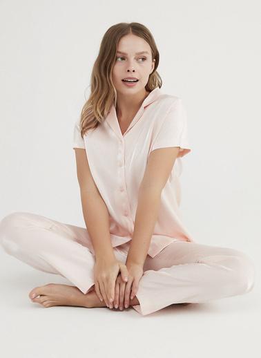 Penti Pembe Pink Saten Pijama Takımı Pembe